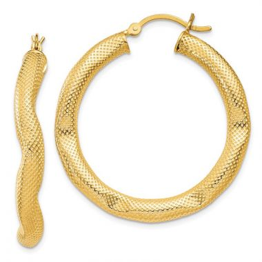 Quality Gold Sterling Silver Gold-flashed Patterned Dented 35mm Hoop Earrings