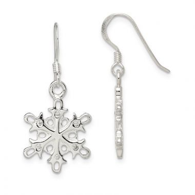 Quality Gold Sterling Silver Polished & Satin CZ Snowflake Dangle Earrings