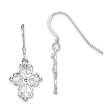 Quality Gold Sterling Silver Cross Dangle Earrings