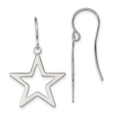 Quality Gold Sterling Silver Polished Star Dangle Earrings