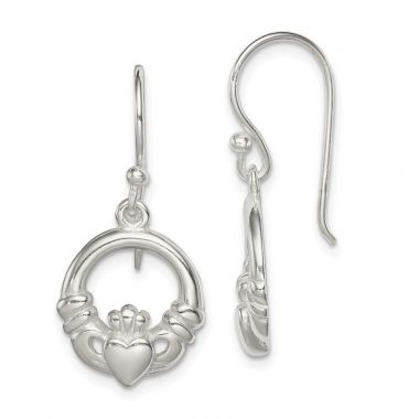Quality Gold Sterling Silver Claddagh Dangle Earrings