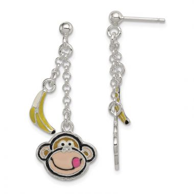 Quality Gold Sterling Silver Enameled Monkey Face & Banana Dangle Post Earrings