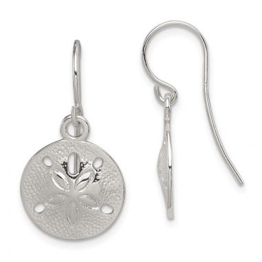 Quality Gold Sterling Silver Polished & Textured Sand Dollar Dangle Earrings