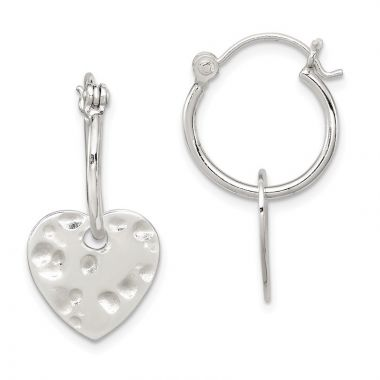 Quality Gold Sterling Silver Polished & Hammered Heart Dangle Hoop Earrings