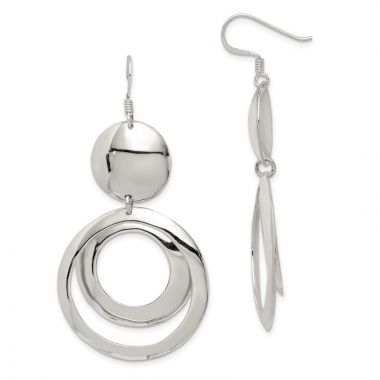 Quality Gold Sterling Silver Polished Fancy Circle Dangle Earrings