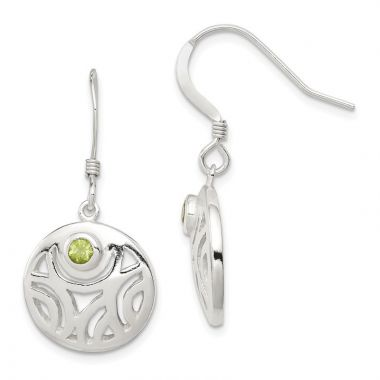 Quality Gold Sterling Silver & Peridot Round Polished Dangle Earrings