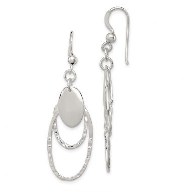 Quality Gold Sterling Silver Polished & Textured Fancy Oval Dangle Earrings