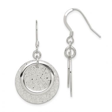 Quality Gold Sterling Silver Polished & Textured Fancy Circle Dangle Earrings