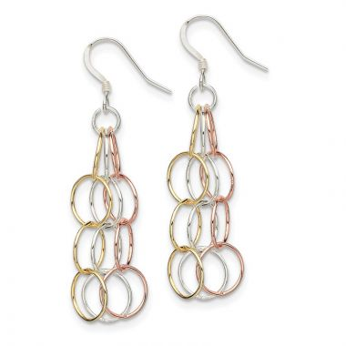 Quality Gold Sterling Silver Tri-colored Vermeil Polished Dangle Earrings