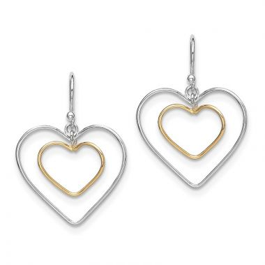 Quality Gold Sterling Silver Gold-Plated Double Heart Wire Dangle Earrings