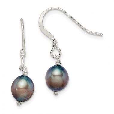Quality Gold Sterling Silver Black FW Cultured Pearl Dangle Earrings