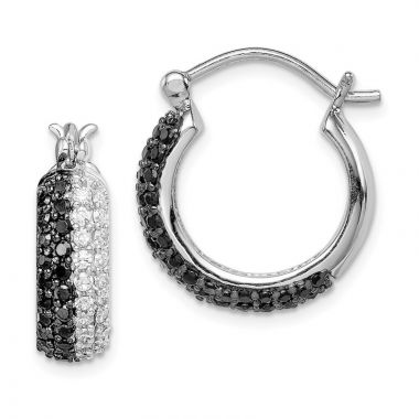 Quality Gold Sterling Silver Black & White CZ Hoop Earrings