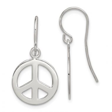 Quality Gold Sterling Silver Polished Peace Sign Dangle Earrings
