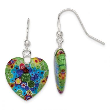 Quality Gold Sterling Silver Multicolored Glass Polished Heart Dangle Earrings