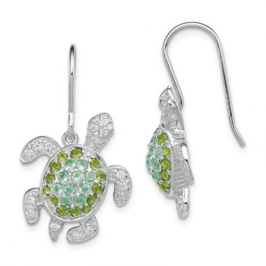 Quality Gold Sterling Silver Clear Green Blue CZ Turtle Rhodium-plated Dangle Earrings