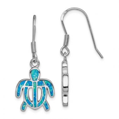 Quality Gold Sterling Silver  Blue Opal Inlay Tortoise Dangle Earrings