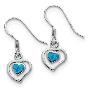 Quality Gold Sterling Silver  Blue Opal Inlay Center Heart Dangle Earrings
