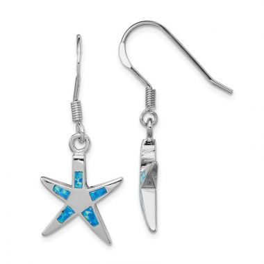 Quality Gold Sterling Silver  Blue Opal Inlay Flat Starfish Dangle Earrings