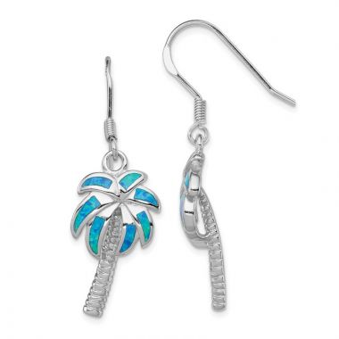 Quality Gold Sterling Silver  Blue Opal Inlay Palm Tree Dangle Earrings