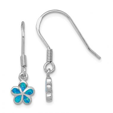 Quality Gold Sterling Silver  Blue Opal Inlay Flower Dangle Earrings