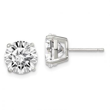 Quality Gold Sterling Silver 9mm Round Basket Set CZ Stud Earrings