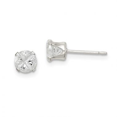 Quality Gold Sterling Silver 4.5mm Round Snap Set CZ Stud Earrings
