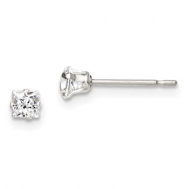 Quality Gold Sterling Silver 3mm Square Snap Set CZ Stud Earrings