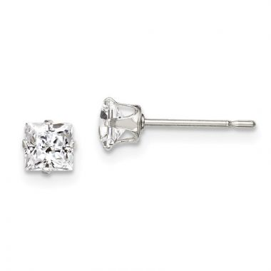 Quality Gold Sterling Silver 4mm Square Snap Set CZ Stud Earrings