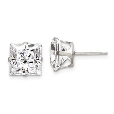 Quality Gold Sterling Silver 9mm Square Snap Set CZ Stud Earrings