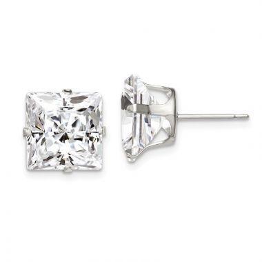 Quality Gold Sterling Silver 10mm Square Snap Set CZ Stud Earrings