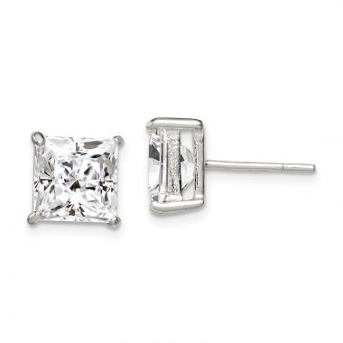 Quality Gold Sterling Silver 8mm Square CZ Basket Set Stud Earrings