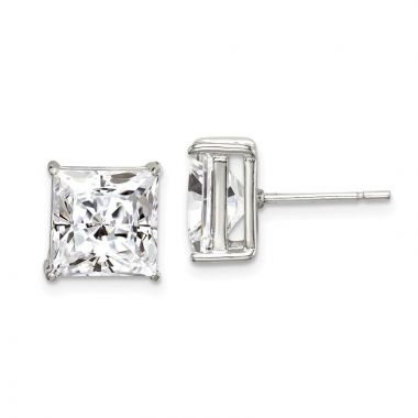 Quality Gold Sterling Silver 9mm Square CZ Basket Set Stud Earrings