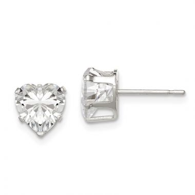 Quality Gold Sterling Silver 7mm Heart Snap Set CZ Stud Earrings