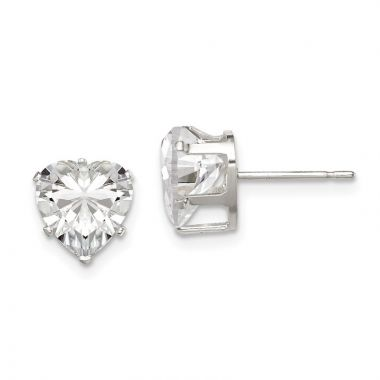 Quality Gold Sterling Silver 8mm Heart Snap Set CZ Stud Earrings