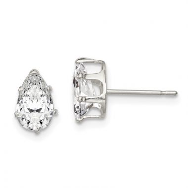 Quality Gold Sterling Silver 8x5 Pear Snap Set CZ Stud Earrings