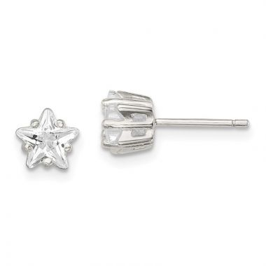 Quality Gold Sterling Silver 6mm Star Basket Set CZ Stud Earrings