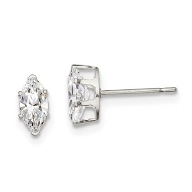 Quality Gold Sterling Silver 7x3.5 Marquise Snap Set CZ Stud Earrings