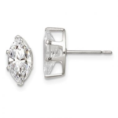 Quality Gold Sterling Silver 10x5 Marquise Snap Set CZ Stud Earrings