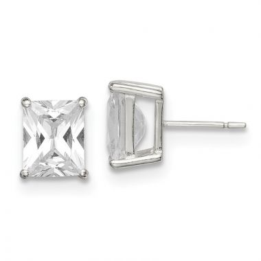 Quality Gold Sterling Silver 10x8 Basket Set CZ Stud Earrings