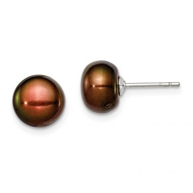 Quality Gold Sterling Silver 8-9mm Brown FW Cultured Button Pearl Stud Earrings