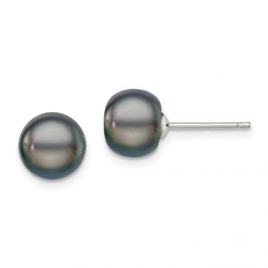 Quality Gold Sterling Silver 8-9mm Black FW Cultured Button Pearl Stud Earrings