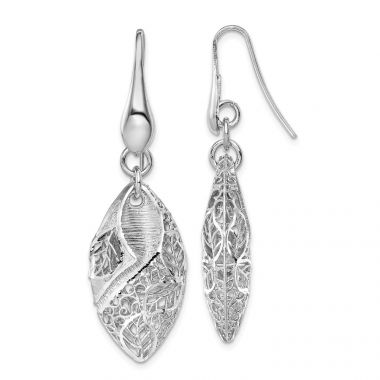 Quality Gold Sterling Silver Rhodium Plated Oval Leaf Dangle Earrings