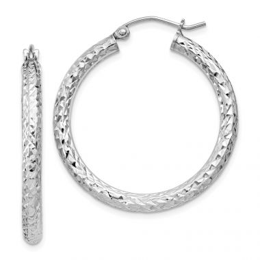 Quality Gold Sterling Silver Rhodium-plated  3x30mm Hoop Earrings