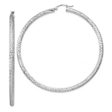 Quality Gold Sterling Silver Rhodium-plated  3x65mm Hoop Earrings