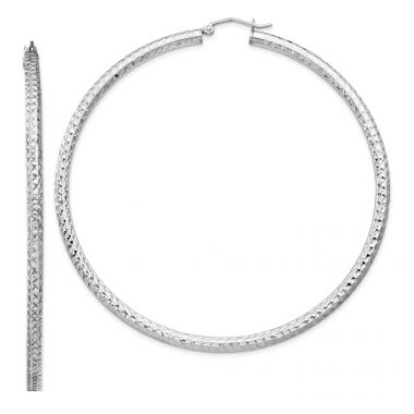 Quality Gold Sterling Silver Rhodium-plated  3x70mm Hoop Earrings