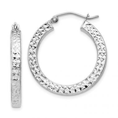 Quality Gold Sterling Silver Rhodium-plated  3x25mm Square Tube Hoop Earrings