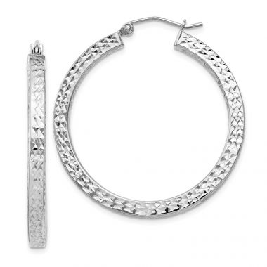 Quality Gold Sterling Silver Rhodium-plated  3x35mm Square Tube Hoop Earrings