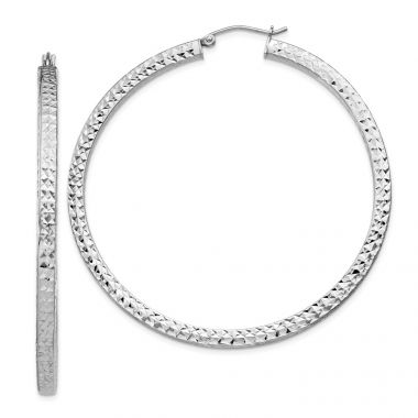 Quality Gold Sterling Silver Rhodium-plated  3x55mm Square Tube Hoop Earrings