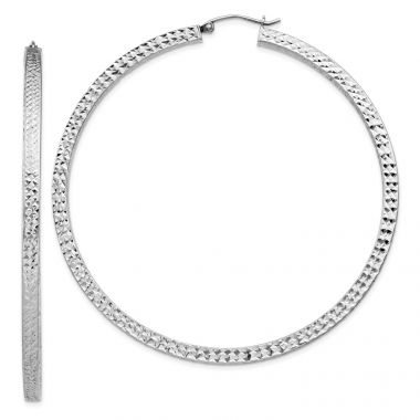 Quality Gold Sterling Silver Rhodium-plated  3x65mm Square Tube Hoop Earrings