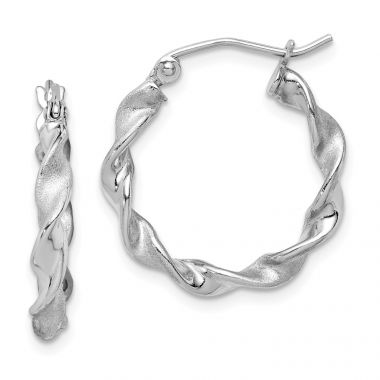 Quality Gold Sterling Silver Rhodium Plated Polished and Satin Twist Hoop Earrings